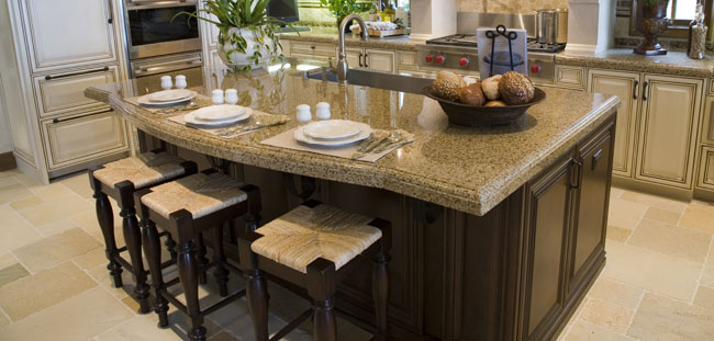 Example of cleaning job on a granite countertop